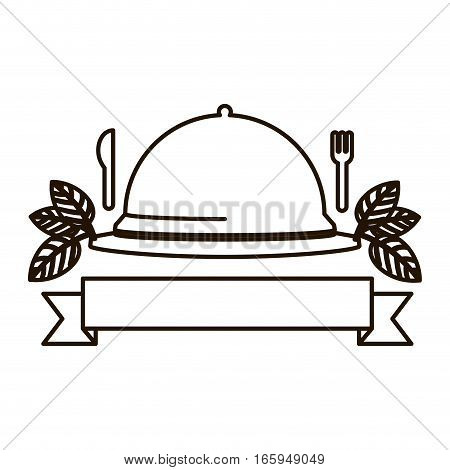 silhouette tableware cover with label and cutlery vector illustration