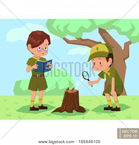 Children Scouts In Forest. Two Boyscout Vector Flat Cartoon Illustration