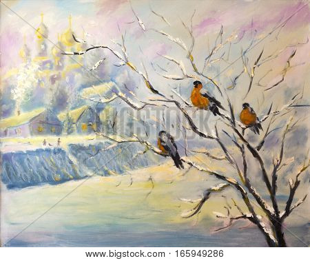 Original oil painting of birds on a tree in winter village on canvas. Modern Impressionism