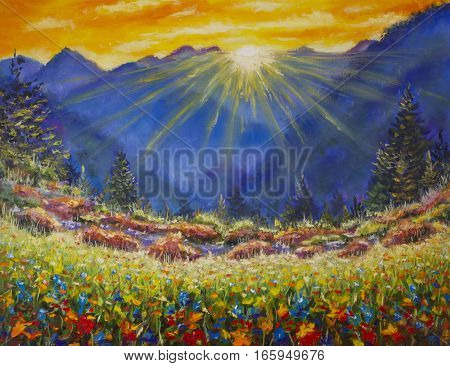 Original oil painting of sunrise over a flower meadow in the mountains on canvas. Modern Impressionism