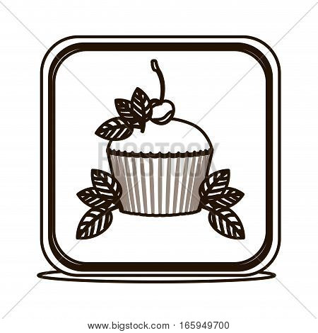 silhouette square button with cupcake and leaves vector illustration