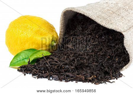 Lemon and leaf black tea isolated on white background.
