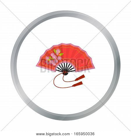 Folding fan icon in cartoon style isolated on white background. Japan symbol vector illustration.