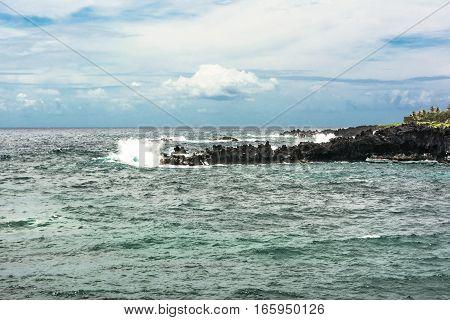 The ocean along the coast of Wainapanapa in Maui, Hawaii