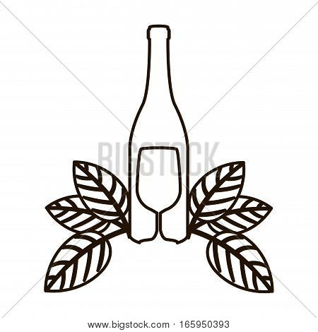 contour bottle wine and goblet with leaves vector illustration