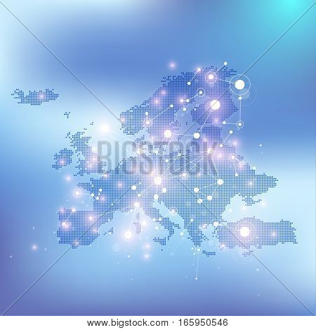 Geometric graphic background communication with dotted Europe Map. Big data complex with compounds. Perspective minimal array. Digital data visualization. Scientific cybernetic vector illustration