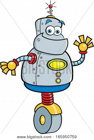 Cartoon illustration of a smiling robot waving.