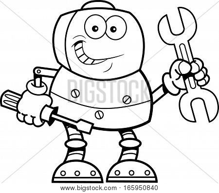 Black and white illustration of a robot holding tools.