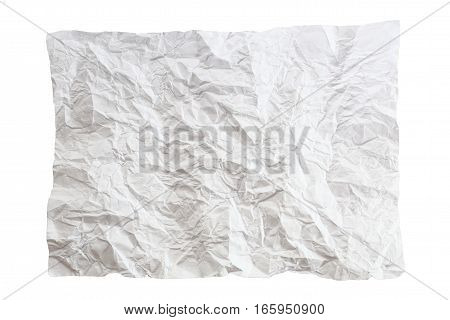Crumpled piece of paper isolated on white background. One white crumpled paper list.