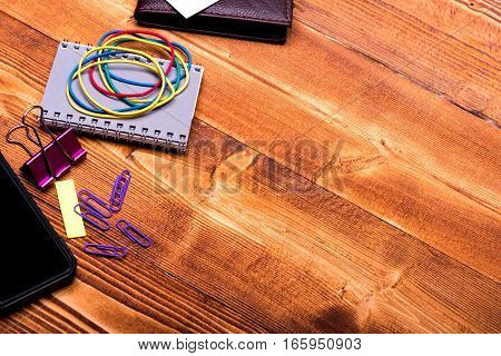 Stationery For Office: Notebook, Clips, Wallet, Rubber Band, Phone, Stickers