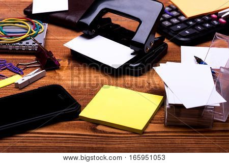Stationery: Notebook, Clips, Pen, Blanks, Wallet, Hole Puncher, Phone, Stickers
