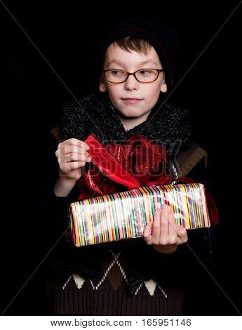 Boy Nerd With Present Box