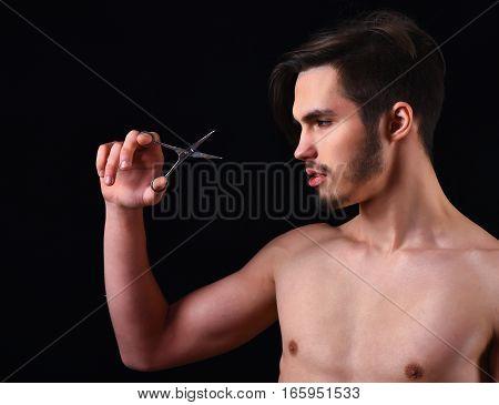Bearded Macho With Scissors