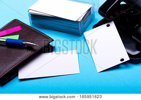 Stationery For Office: Hole Puncher, Blanks, Wallet, Pen, Stickers