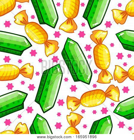 Seamless pattern with candy cartoon candy. Sweet illustration