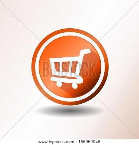 Illustration of a flat design shopping cart icon or button