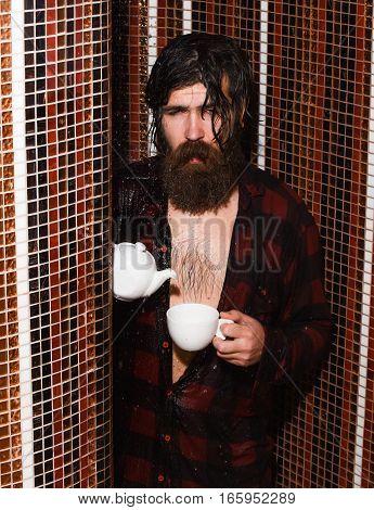 Handsome Man Washes In Shower
