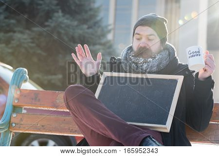 Excited Man With Blank Chalkboard