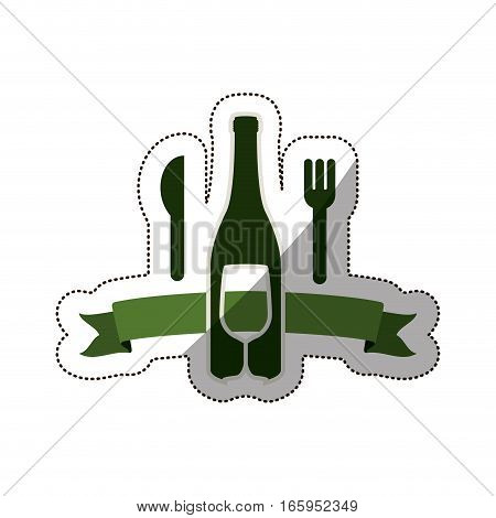 sticker bottle wine and goblet with cutlery . Vector illustration