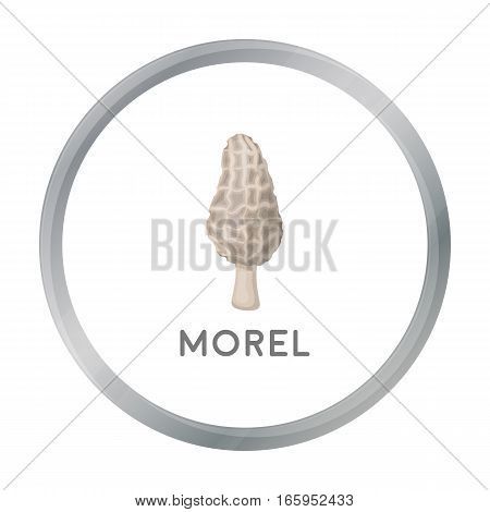 Morel icon in cartoon style isolated on white background. Mushroom symbol vector illustration.