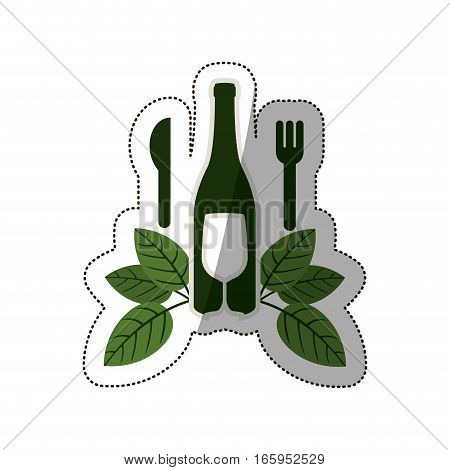 sticker bottle wine and goblet with leaves and cutlery vector illustration