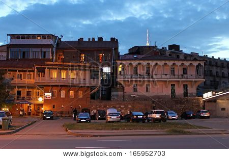 TBILISI, GEORGIA - SEPTEMBER 30, 2010: Street of old Tbilisi in the evening, Georgia. The old town is a big tourist attraction