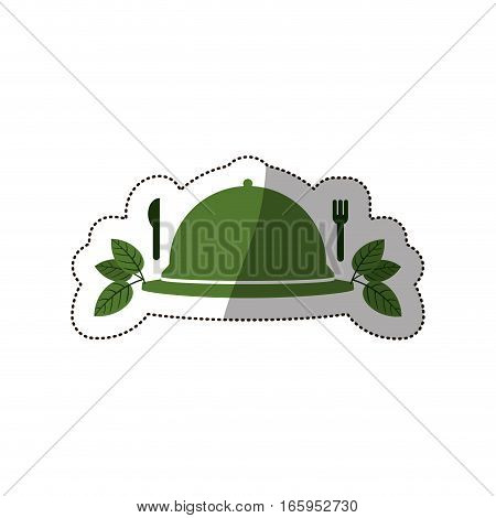 sticker tableware cover with leaves and cutlery vector illustration