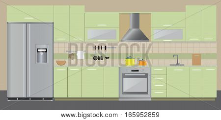 Kitchen retro interior with furniture and equipment. Vector flat illustration.