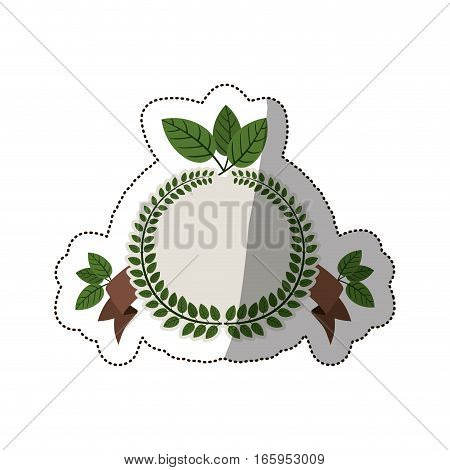 sticker arch of green leaves with ramifications and label vector illustration