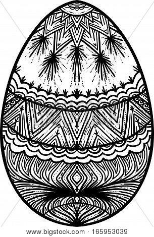 Ornamental black and white easter egg element for design.