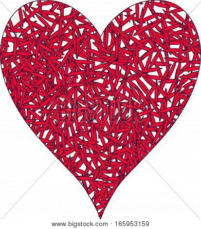 Abstract illustration of stylized colorful heart on white backgrou nd