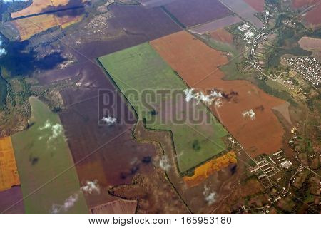 Aerial view over agricultural fields in Greece