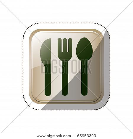 sticker square button set collection cutlery vector illustration