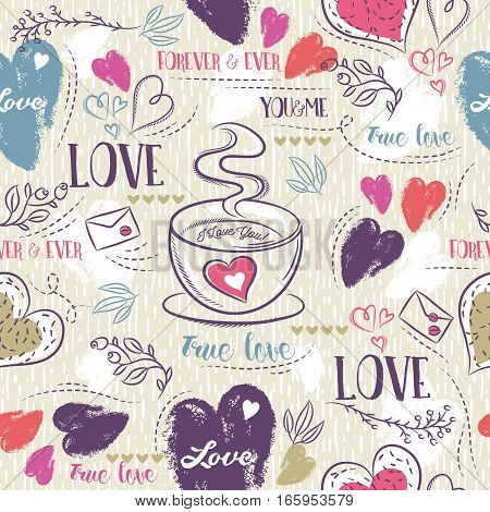 Beige seamless patterned background with cup of coffee red and blue valentine hearts and wishes text vector illustration. Ideal for printing onto fabric and paper or scrap booking.