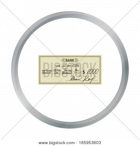 Cheque icon in cartoon style isolated on white background. Money and finance symbol vector illustration.