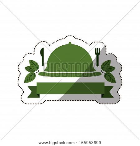 sticker tableware cover with label and cutlery vector illustration