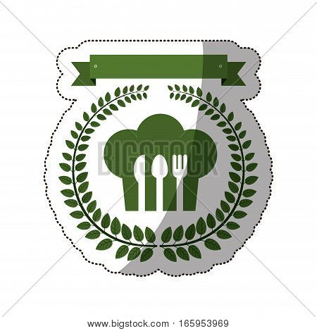 sticker arch of green leaves with chefs hat and cutlery vector illustration