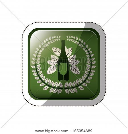 sticker square button with crown of leaves with bottle wine and cutlery vector illustration
