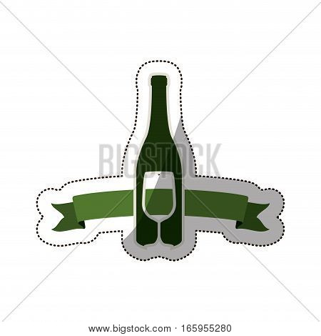 sticker bottle wine and goblet vector illustration