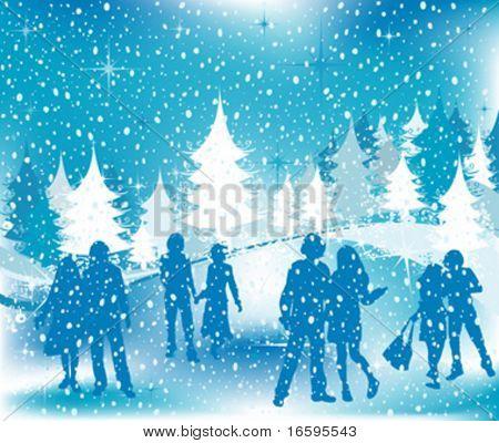 Christmas illustration; winter scene with silhouettes having fun