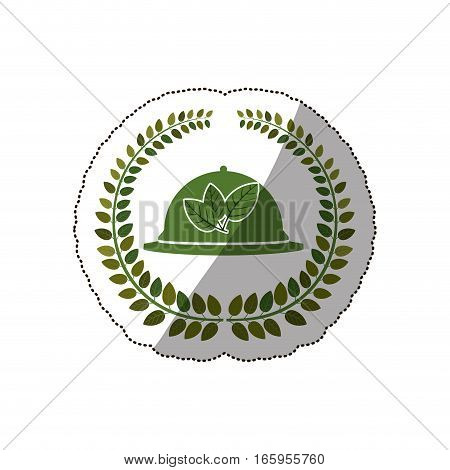 sticker arch of leaves with tableware cover vector illustration