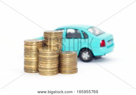car on a white background with coins