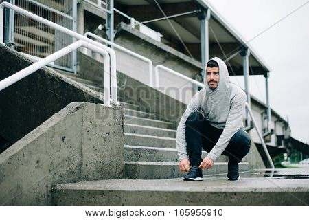 Man Ready For Urban Winter Running Workout