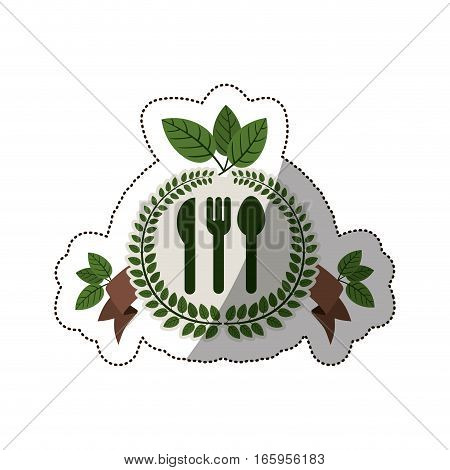 sticker crown of leaves with silverware and label vector illustration