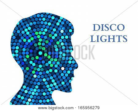 Double exposure Man Silhouette and Disco Lights. Double exposure Vector illustration