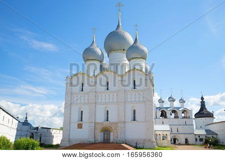 Assumption Cathedral in Kremlin of Rostov the Great. Sunny day in July. The Golden ring of Russia