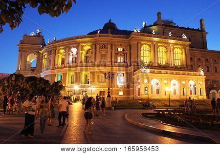 ODESSA, UKRAINE -JULY,21, 2012: Odessa opera house at night. Ukraine, Eastern Europe