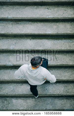 Man Training On Urban Stairs
