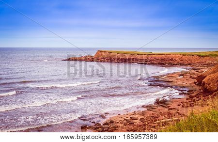 Rugged coast of prince edward island canada