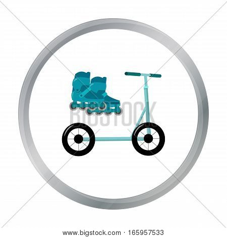 Inline skates and scooter icon in cartoon style isolated on white background. Play garden symbol vector illustration.